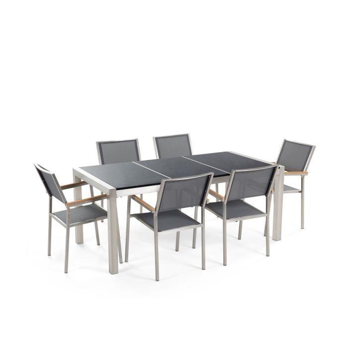 Table de jardin acier inox - plateau granit triple noir poli 180 cm ...