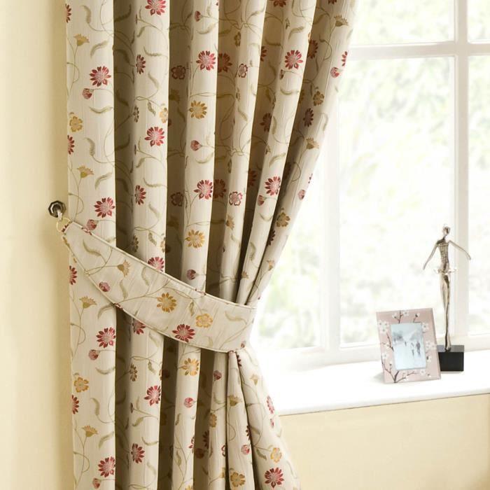 rideaux fleurs rouge achat vente pas cher. Black Bedroom Furniture Sets. Home Design Ideas