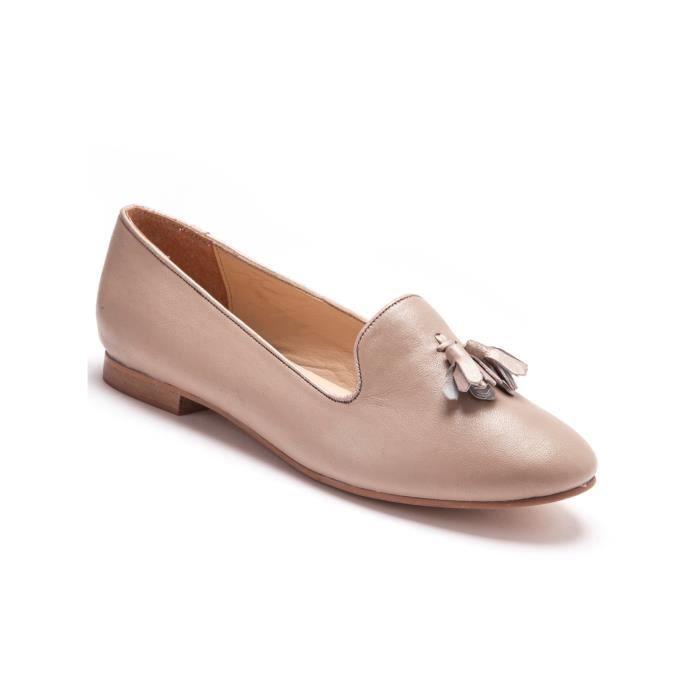 Slippers grande largeur en cuir