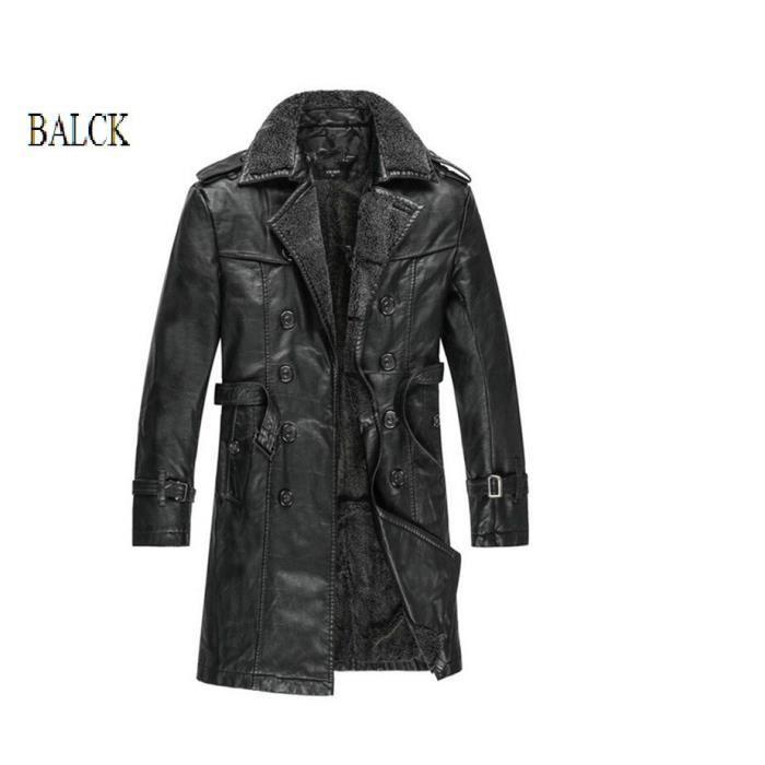 Veste mi longue homme en cuir véritable noir Noir NOIRE - Achat ... 65f09ca7fc5a