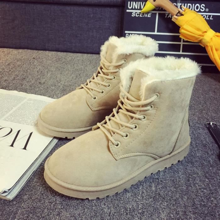 2016 Mode Dames Femmes Bottes Flat Ankle Lace Up Fourrure en fourrure hiver chaud Chaussures de neige