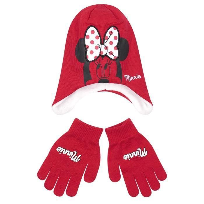 Bonnet péruvien et gants enfant fille Minnie Rouge de 3 à 9ans Rouge ... 090ed2b1e0b