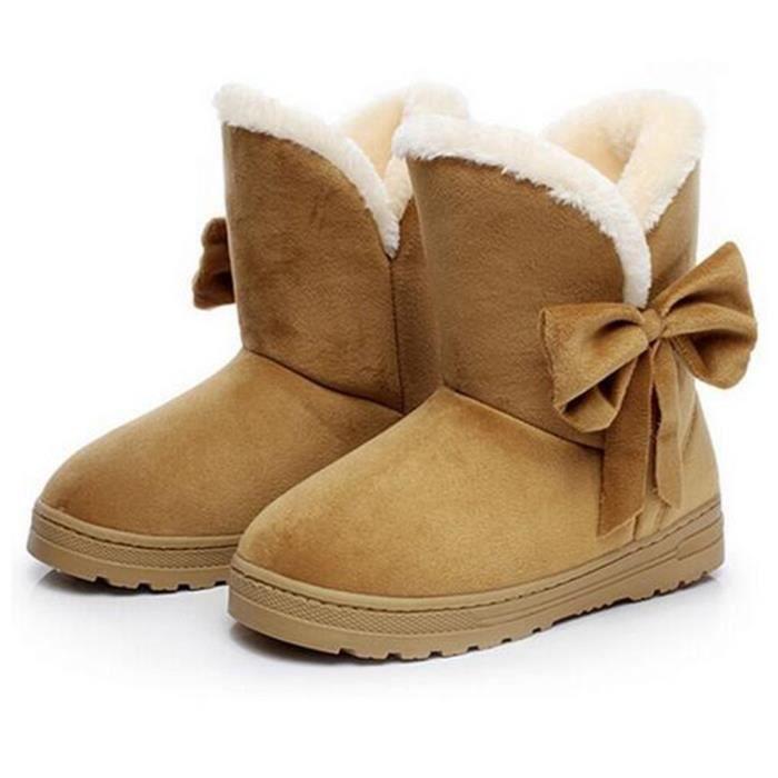 Bottine Femme Hiver Comfortable Peluche Classique Boots LKG-XZ014Jaune-40