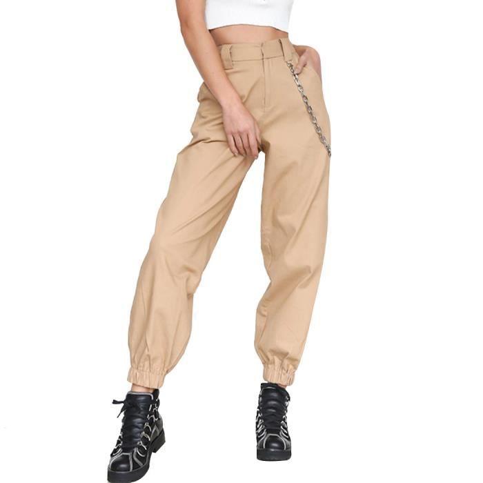 en stock a35e8 00f4c 2018 Femme Taille Haute Harem Pantalon Femmes Mode Slim Long ...
