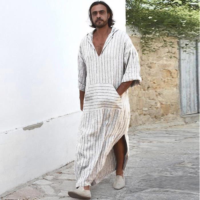 a27b19e3f54 Ethnique Casual Robe Vrac En Rayé À Manches Mens Vintage Dedasing® Longues  Capuche Kaftan Dress ...