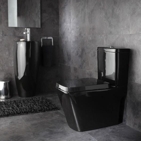 Pack wc design en porcelaine Noire brillant Sortie Horizontale ...