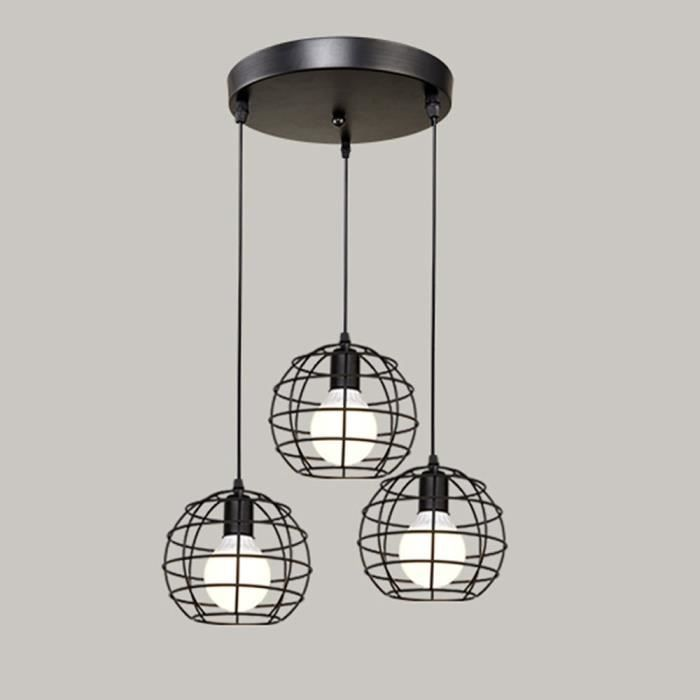Forme Globe E27 Suspension Industrielle Lampes Lustre Abat Noir 3 Jour Stoex 18cm 5JuFTclK13
