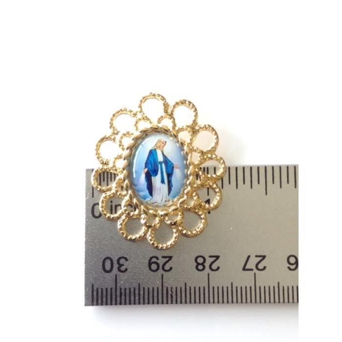 Womens Virgin Mary Necklace 19.5 Inches Chain 18k Gold Plated Medalla De La Virgen De La Milagros YCVJ7