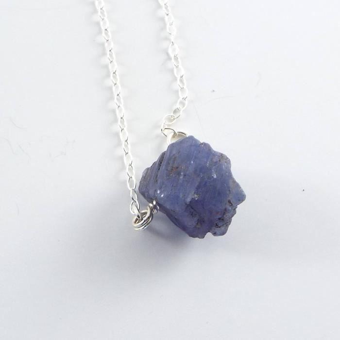 Craze bleu druzy rectangle noir collier de pierres précieuses - 18 longueur O0KUP