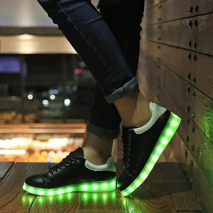 Baskets 7 Couleur chaussuresUnisexeFemme USB Charge LED Lumière Lumineux Clignotants Chaussures de Sports Baskets