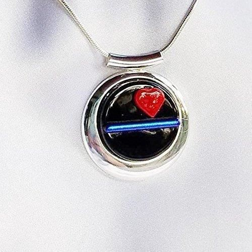 Womens Thin Blue Line Police Red Heart Love Dichroic Fused Glass Jewelry Pendant Necklace QAF5A