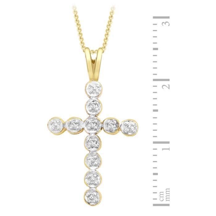 Collier Femme Avec Pendentif - Croix - Or Jaune (9 Cts) 1.75 Gr - Diamant Z8P0R