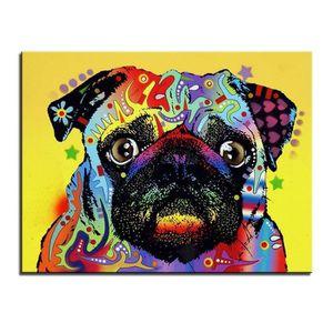 b7ec8ee0b5e93 PEINTURE A L HUILE 1pc coloré chien carlin imprimé peinture à l huile