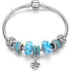 BRACELET - GOURMETTE Bracelet de type Pandora Argenté Perles de Verres