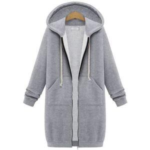 véritable 100% de qualité supérieure détails pour Sweat zippe a capuche femme manteau hiver long