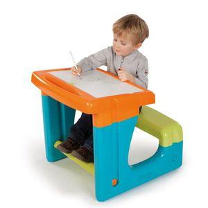 TABLE JOUET D'ACTIVITÉ SMOBY Bureau Enfant Petit Ecolier Bleu