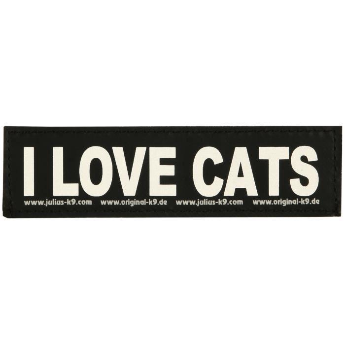 2 Stickers Velcro Julius-K9 I Love Cats S - Pour chien