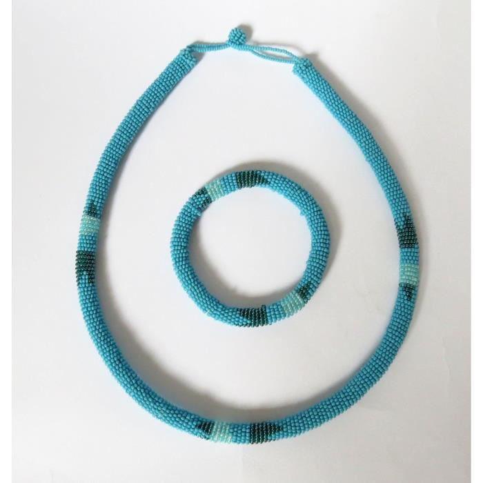 Africain Collection 1pxnm3 Sky Femmes Set Elle Perles De Zoulou Ronde Cadeau Pour Et Collier Bracelet XuTlZwOPki
