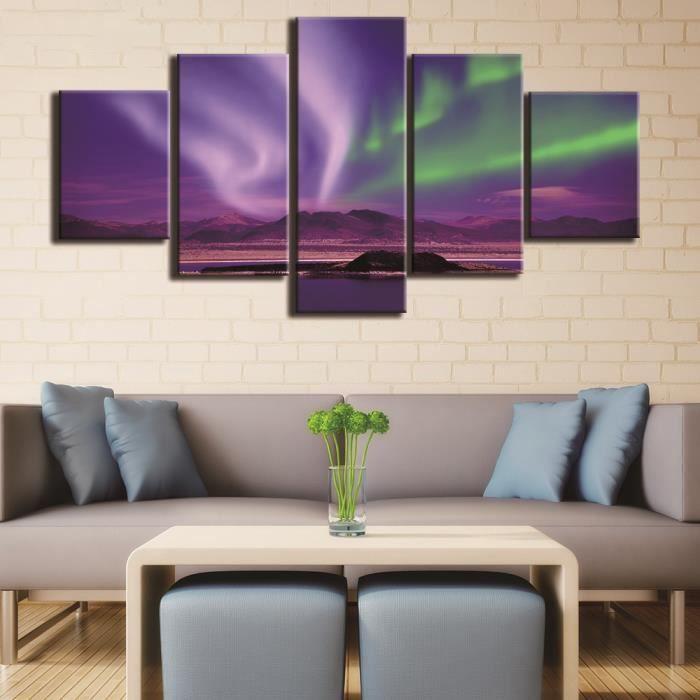 5 Pièces Nouveau Violet Vert Paysage Toile Peinture Peinture Décor ...