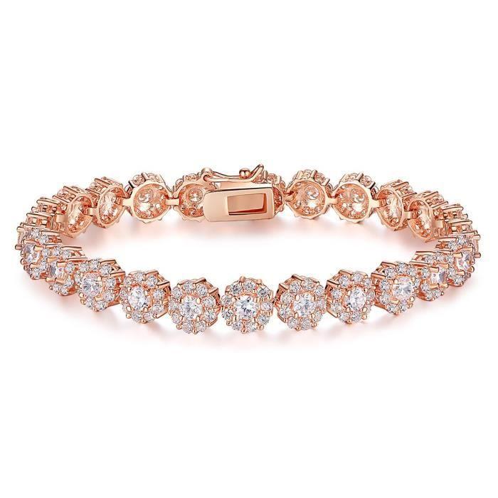 Fabuleux Bracelet en or rose plaqué or pour femme avec brillant zircon  HR27