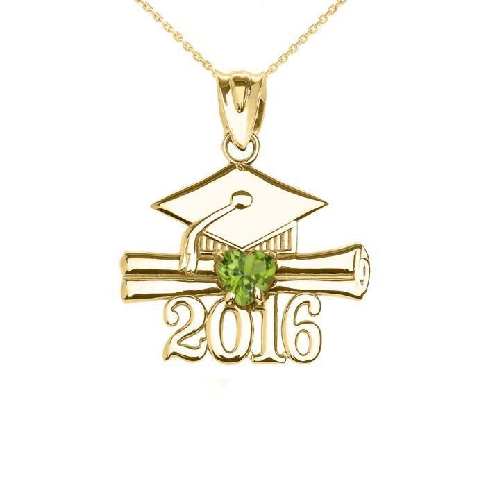 Collier Femme Pendentif 10 Ct Or Jaune Cœur Août Pierre De Naissance Clair Vert Oxyde De Zirconium Classe De 2016 Graduation (Liv...
