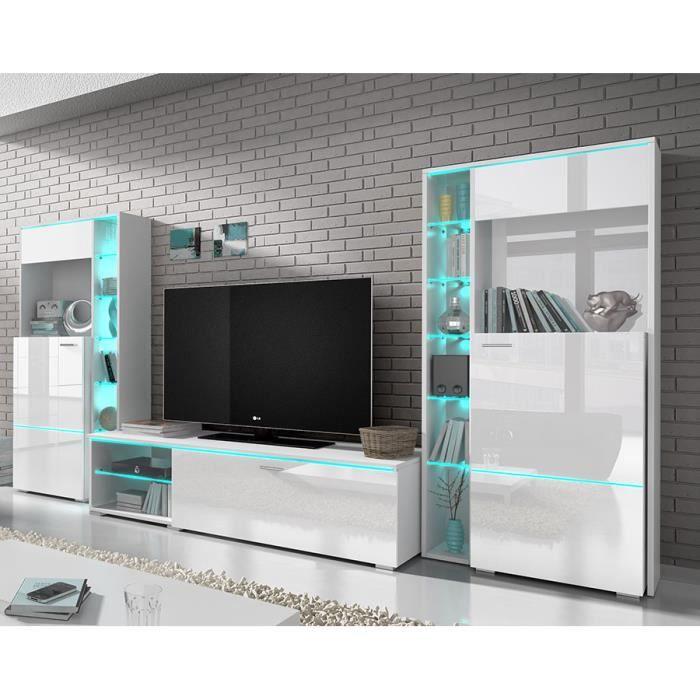 Ensemble Meuble Tv Blanc Laqué Design Dolores Av Achat Vente