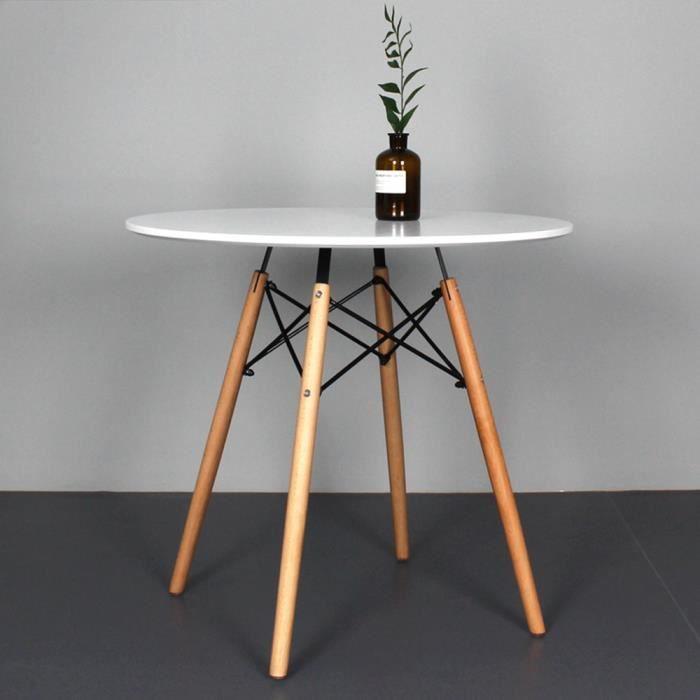 Table à Manger Ronde De Jardin Style Scandinave Blanc Laqué ...