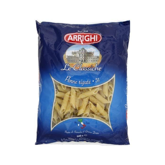 PÂTES ALIMENTAIRES Pâtes italiennes penne rigate n°31 Arrighi - 500 g