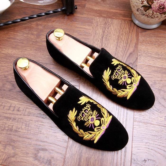 Grande taille simple d'homme designer italien vache givré Pois en cuir suédé Chaussures National Adolescente style de soirée