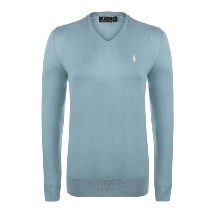 a20446ab873 Polo Ralph Lauren Homme Pull V-Neck Custom Fit turquoise - Achat ...