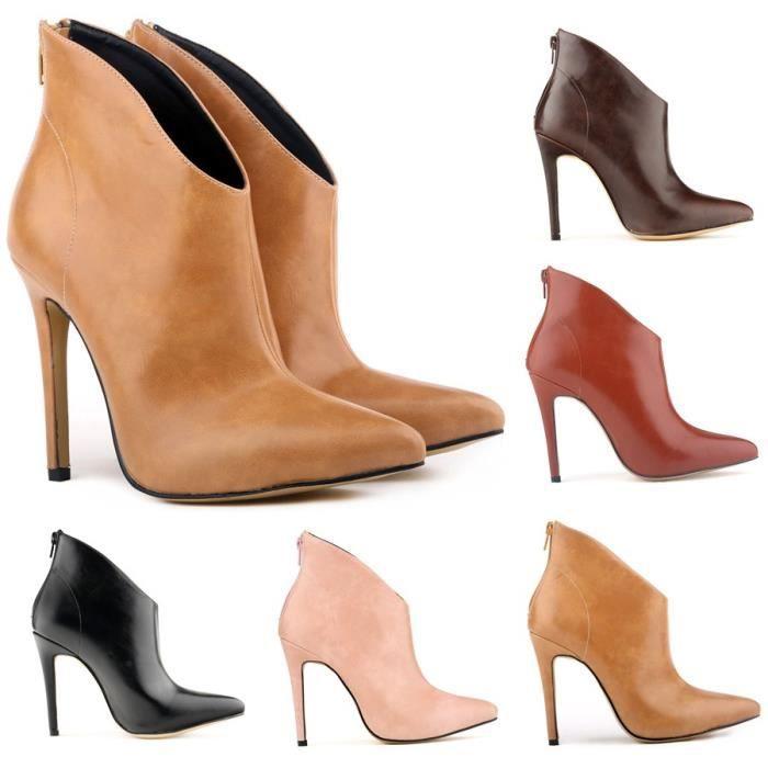 Automne et hiver nouvelle Europe et les États-Unis bottes à talons hauts bottes à talons hauts bottes en cuir en cuir,rouge,36