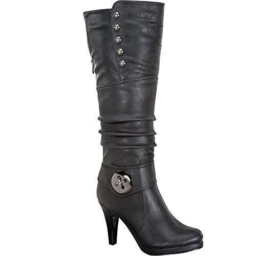 Womens Win-45 Knee High Round Toe Slouched High Heel Boots C3I5J Taille-36 1-2