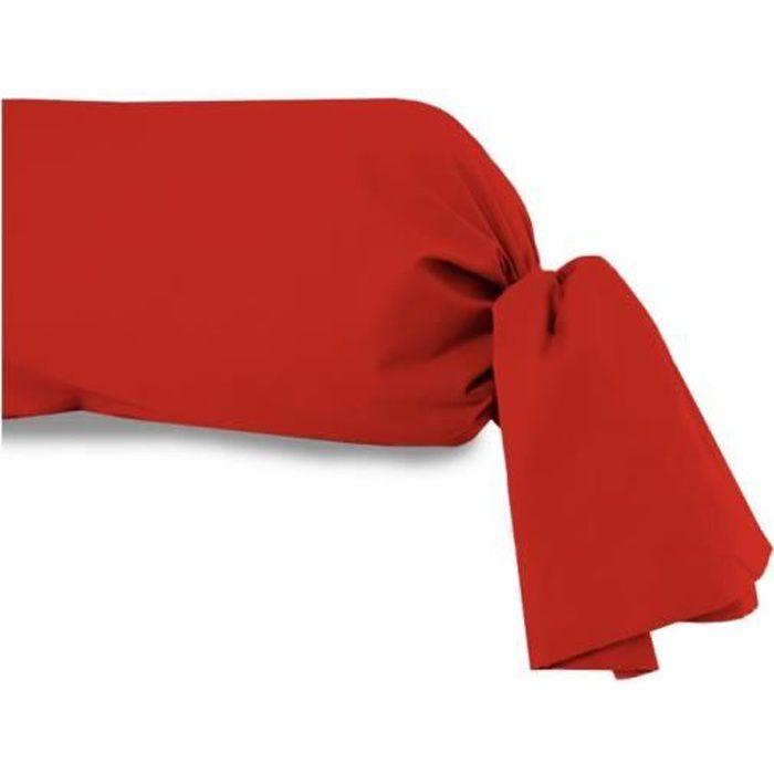 Taie de traversin 45x205 cm en coton 57 Fils SOLEIL D'OCRE rouge. Cette taie de traversin unie de qualité en pur coton est une