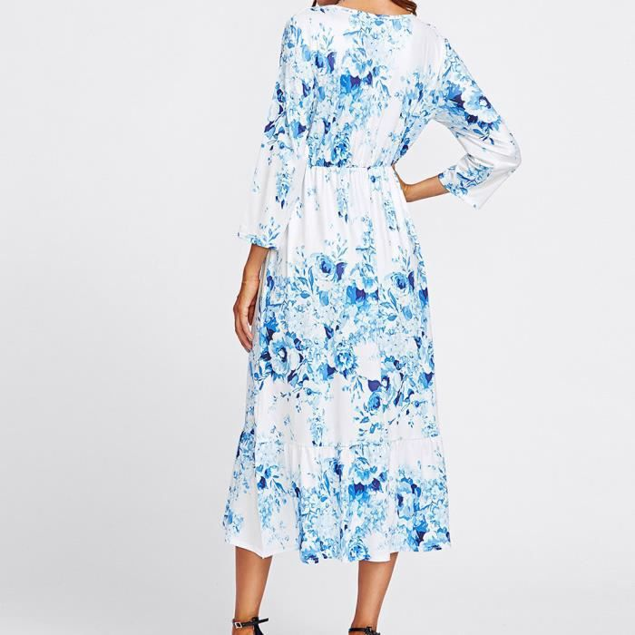 Pachasky®Femmes Casual robe impression automne poignet floral manches O cou robe#NYZ09140175