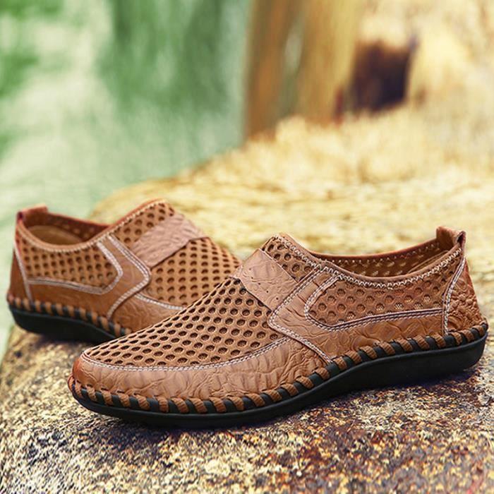 Printemps Comfortable Respirant Chaussure On Été Chaussures XZ070Marron38 Homme Slip LLT 7Zww5H