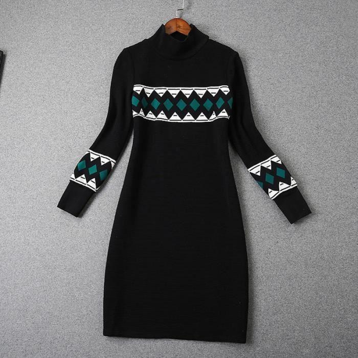 Robefemmes à manches longues tricot couture R...
