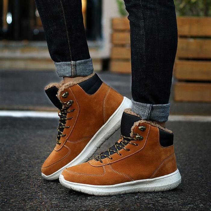 neige pour Hiver Bottes de longues hommes air chaudBotte de chaussure peluche Antidérapant taille gris plein 44 épaisses en 39 wx4ExH