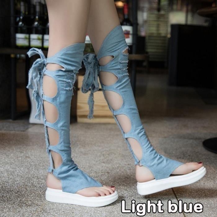 Été Cowboy manches Bottes Cuisses Cross Genoux Cross Women & # 39; Gladiator sandales bottes,bleu clair,39