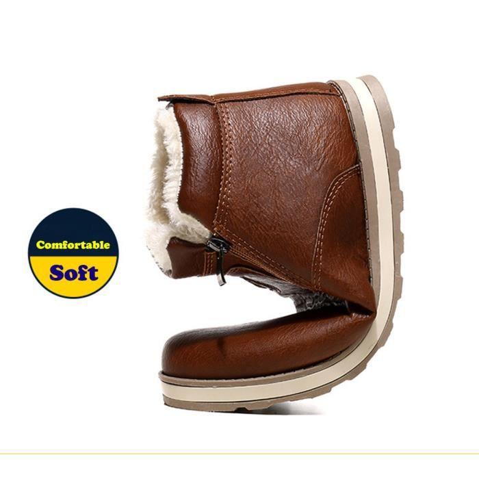 Sidneyki®Hommes Hiver Chaud Bottes Chaussures Décontractées Bottes de neige en peluche BWmarron XKO852 A6fgkS