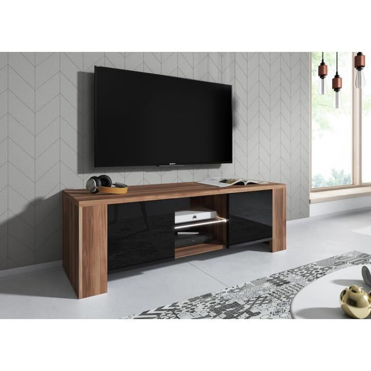 énorme réduction 94201 ee4f8 LUX Meuble TV contemporain décor Corps Prunier - Façade Noir haute  brillance - 130 cm - Avec Led