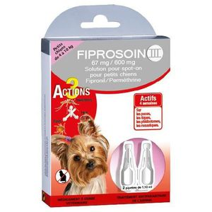 FIPROSOIN III Pipettes antiparasitaires 67 mg / 600 mg - Pour petit chien de 4 ? 10 kg - Lot de 2
