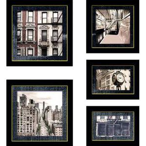 TABLEAU - TOILE Images encadrées Blue city 45x50 cm noir