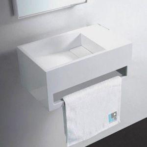 LAVE-MAIN Lave Main avec porte serviette Blanc Mat, 48x30 cm