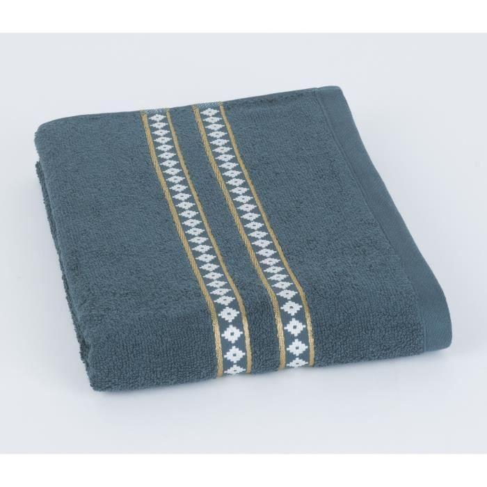 70x140cm GOLD TILE - 100% Coton 420gr/m² - Bleu vert - Production BelgeSERVIETTE DE BAIN - DRAP DE BAIN