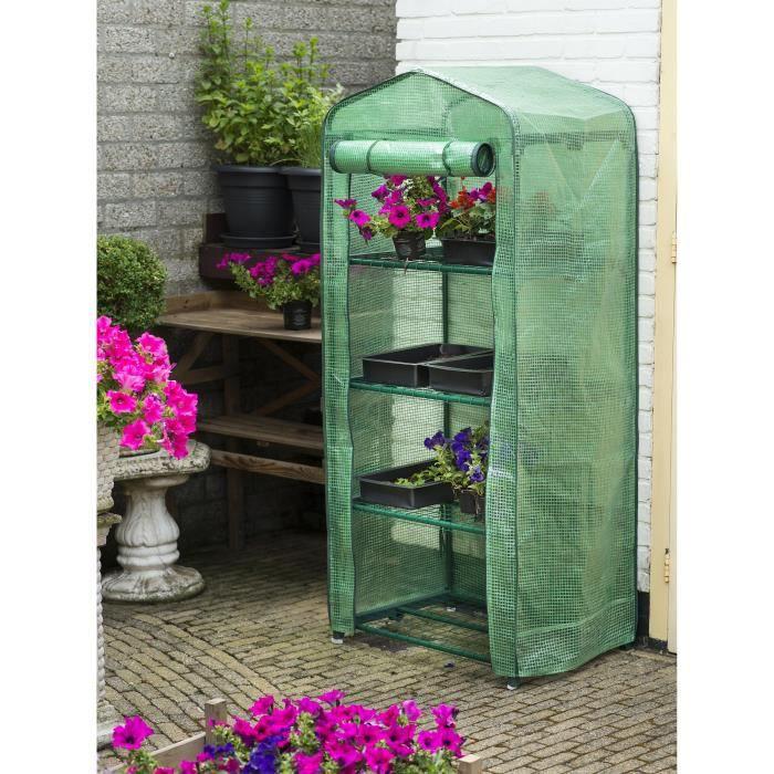 Serre de jardin en polyéthylène - Dimensions : 69x49xH160cm - Coloris : translucide.SERRE DE JARDINAGE