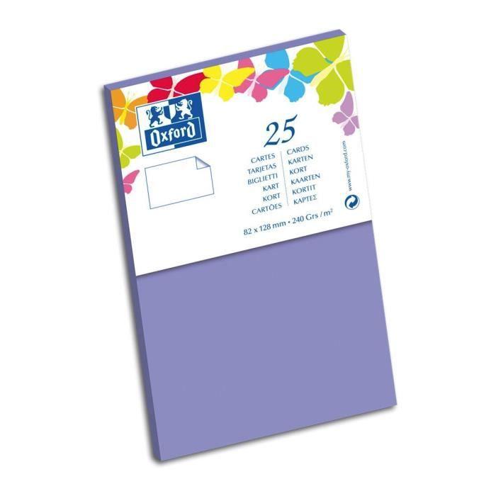 OXFORD 25 Cartes - 12,8 cm x 8,2 cm x 0,7 cm - 240g - Violet