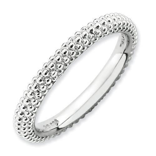 2,5 mm Argent Sterling Expressions empilable rhodié-dôme-Ring-Taille J 1/2