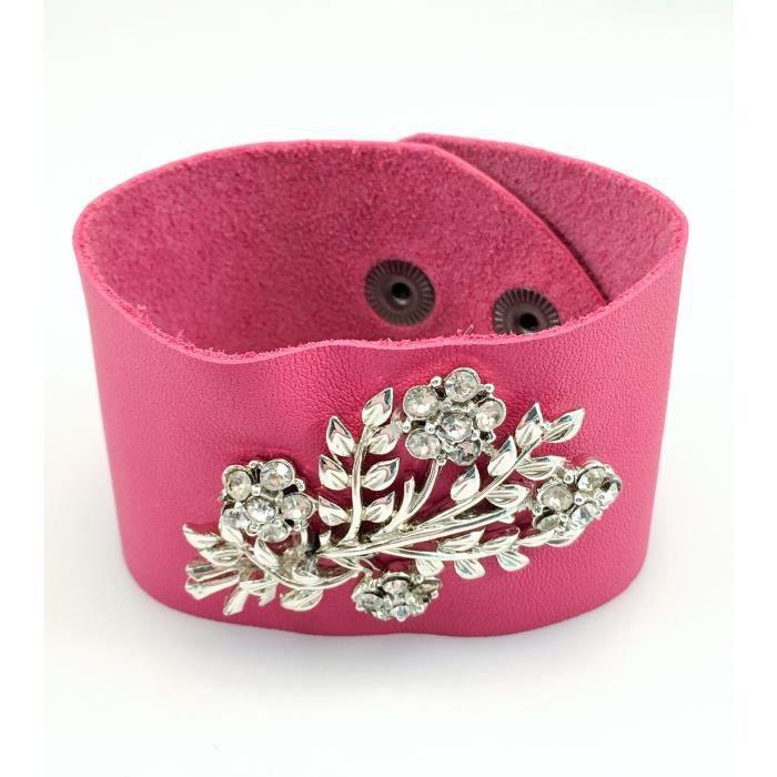 Craze Cristal rose vintage bracelet en cuir. - Unique!