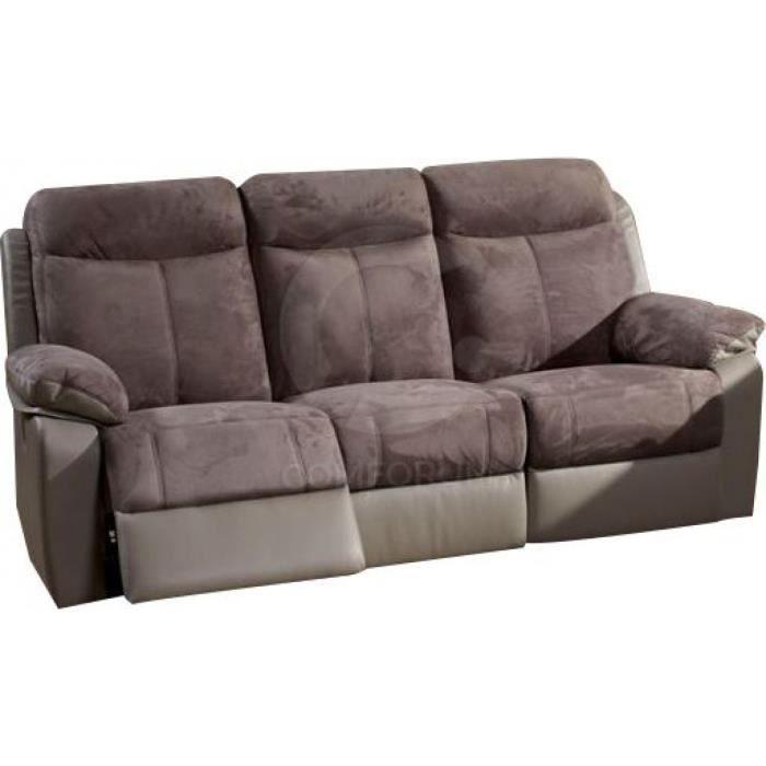 Canapé 3 pl fixe avec 2 relax électrique repose pied coloris gris ...