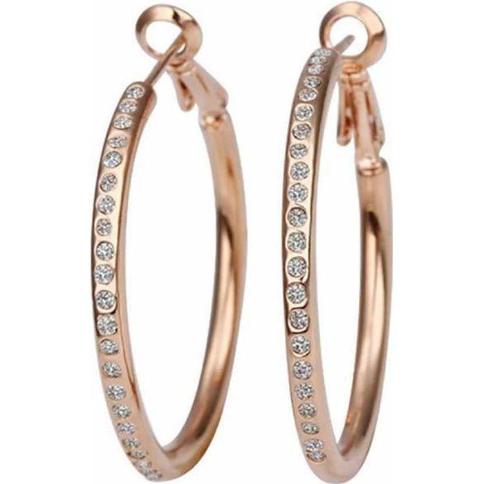 Boucles d oreilles créole Doré or rose 750 00 18K carats Bijou ... ec3a9d8d0421